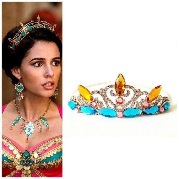 Live Action Jasmine Crown Tiara, Aladdin movie 2019 Crown,Princess Jasmine GOLD & Blue CROWN Fits Live Action Jasmine Outfit Costume