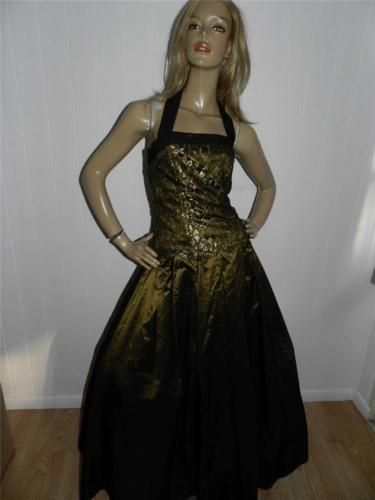 80s vera mont evening #olive green halter lace #princess prom party #dress 10,  View more on the LINK: http://www.zeppy.io/product/gb/2/141860225379/
