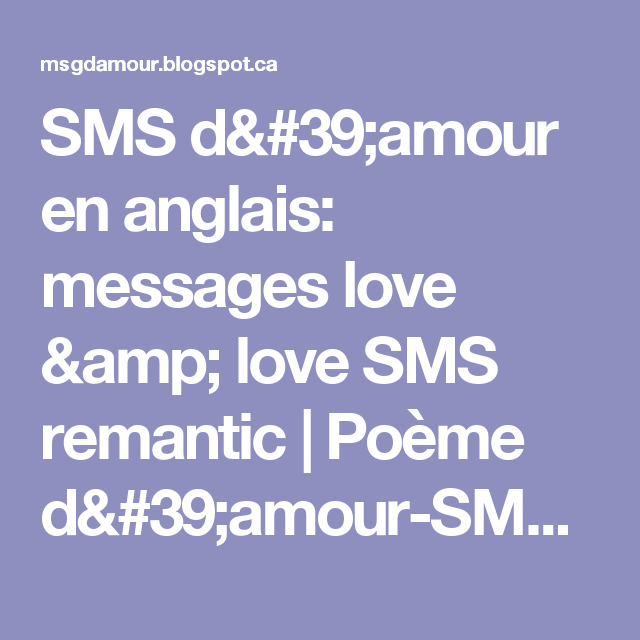 Sms Damour En Anglais Messages Love Love Sms Remantic