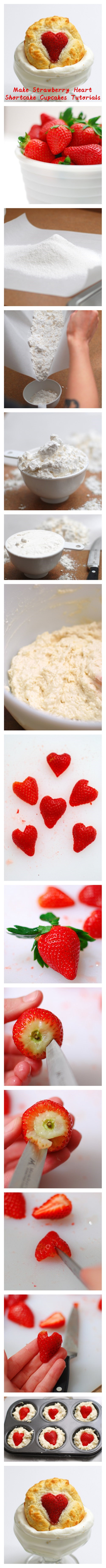 Make #Strawberry #Heart #Shortcake #Cupcakes #Tutorials