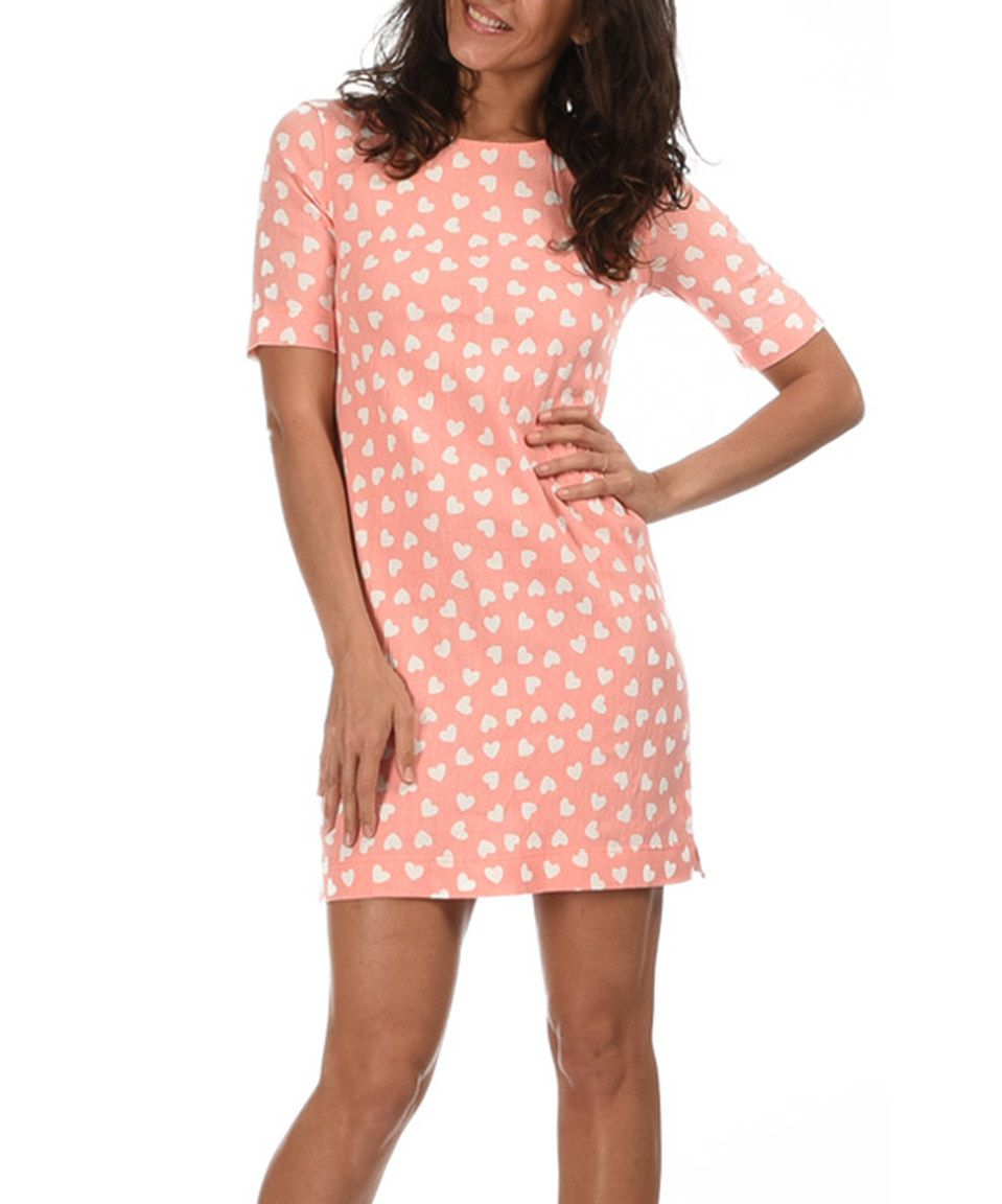 Another great find on #zulily! Light Pink & White Heart Shift Dress by Azura #zulilyfinds