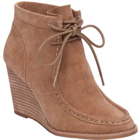 e4c13633118 Lucky Brand Women s Ysabel Wedge Bootie - Sesame Suede Boots