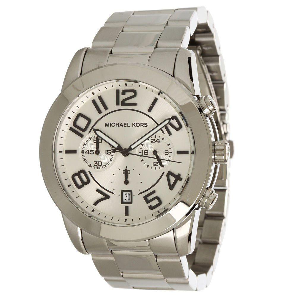 524d29a02d37 Michael Kors MK8290 Men s Mercer Silver Dial Stainless Steel Chronograph  Watch