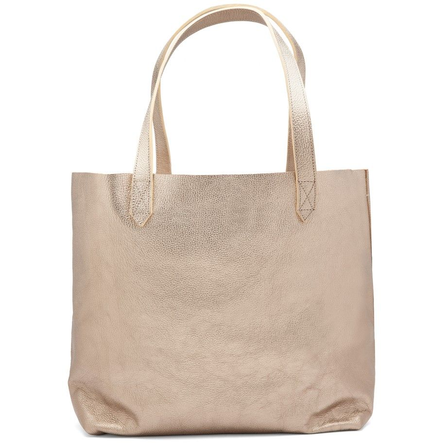 692330925d10 Shimmer Leather Tote Champagne