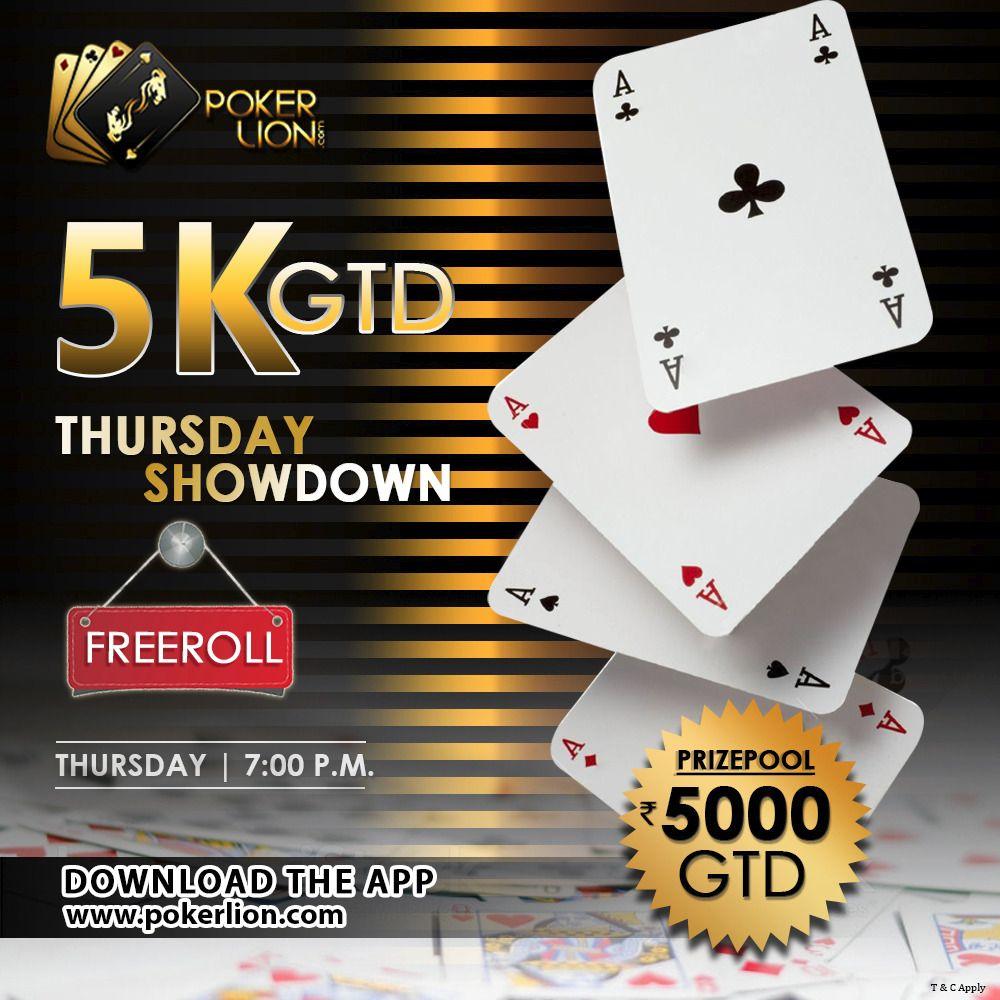 PokerLion 5K GTD Thursday Showdown Money games, Poker