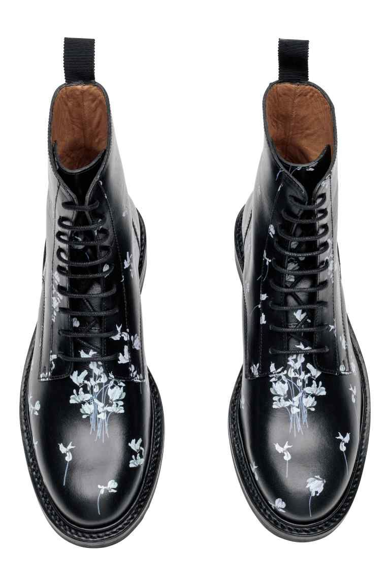 0d908733430108 Кожаные ботинки в цветочек - Черный/Цветы -   H&M RU   Erdem in 2019 ...