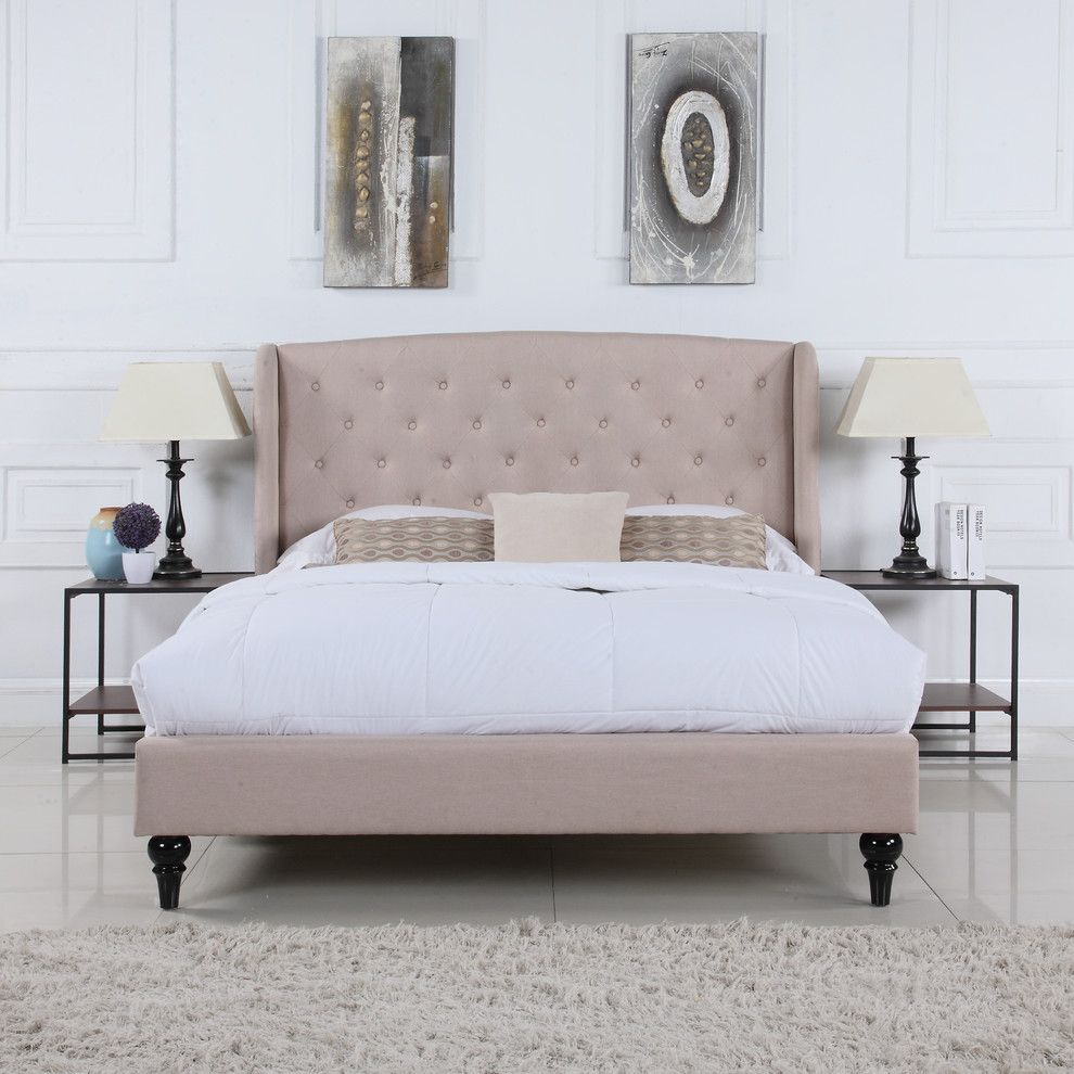 Classic Modern Low Profile Bed Frame Tufted Headboard Linen