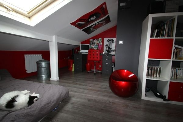 Awesome Chambre Ado Fille Gris Et Rouge Photos - Matkin.info ...