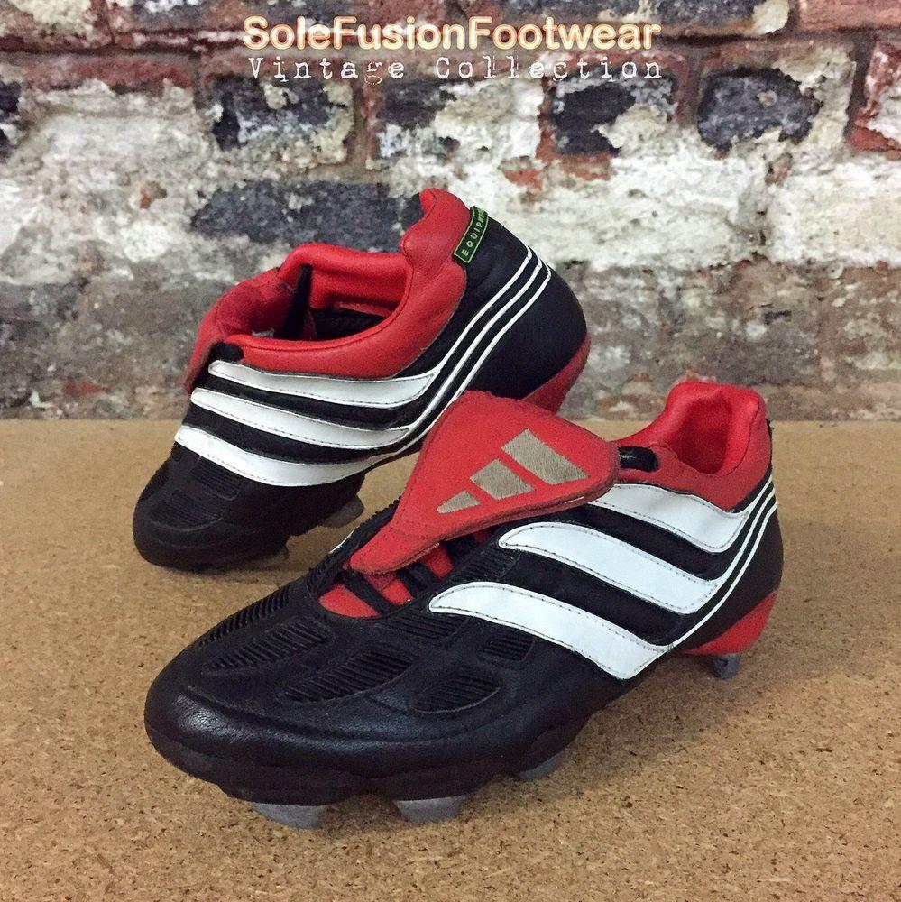 616798cdcf73 adidas Predator Precision Football Boots Black Red sz 5 Mens Boys VTG US  5.5 38