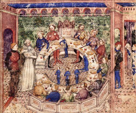 Enluminure Représentant Les Chevaliers De La Table Ronde