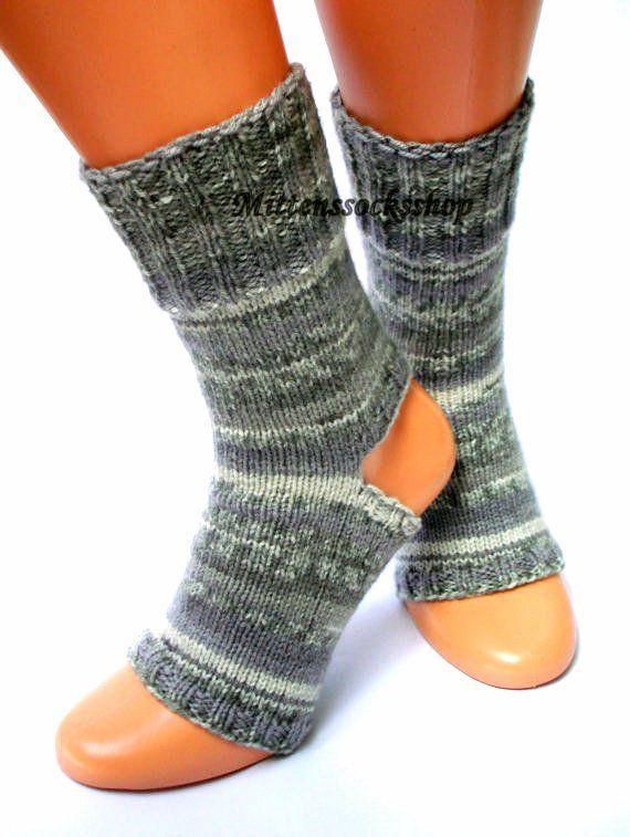 ab0f35e91513c Gray Hand Knit Yoga Socks Dance Socks Knitted Socks Girl s Yoga Socks  Pilates Socks Summer Socks Fli