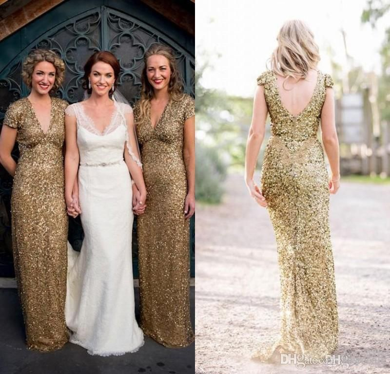 2016 Bling Sequins V Neck Backless Long Bridesmaid Dresses Sparkly Plus Size  Short Sleeves Sheath Maid of Honor Dresses Wedding Party Gowns Online with  ... e71c1e5ae6c8