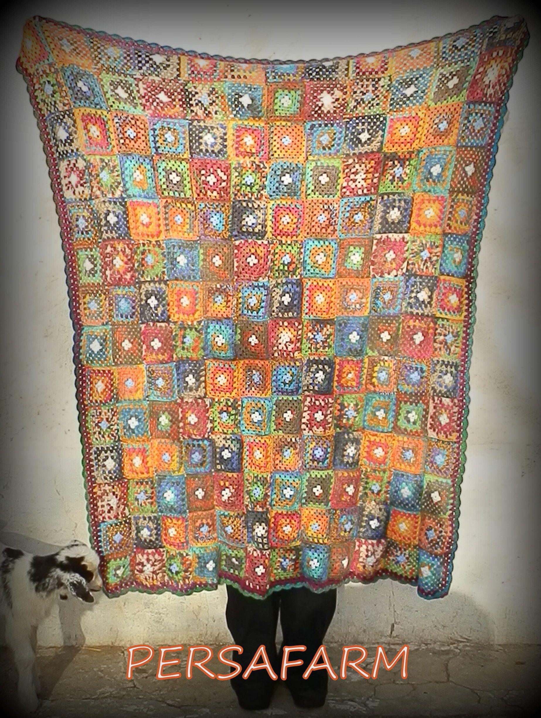 Manta granny square (tamaño sofá) con un infiltrado en la foto...