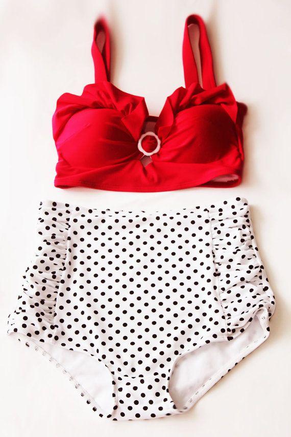 ec549c1c8c Red velvet padded Top and White Black Polka Dots High-waist Shorts Bottom Vintage  Retro Swimsuit Swimwear High waisted Bikini Swimsuits S