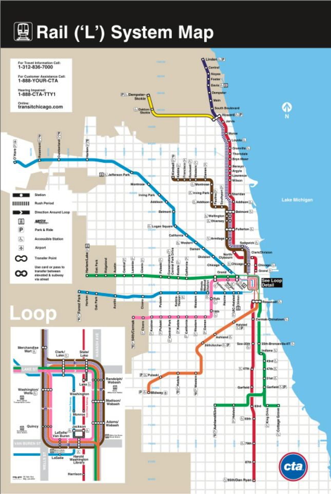 Map Of America Showing Chicago.How Sad Is It That I Even Miss The Cta Map Chicago Chicago Map
