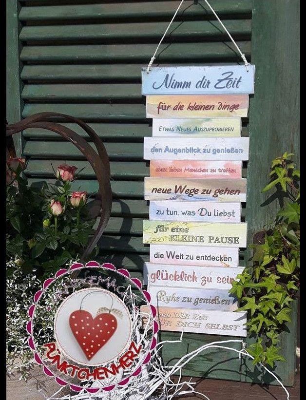 Wunderschöne Dekotafel - Nimm Dir Zeit - Neues Design - zum aufhängen oder anlehnen im Shabby Stil  Farben pastell  Ideal zum Verschenken - vielleicht für eine liebe Freundin oder für Dich...