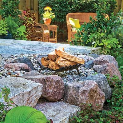 outdoor garden with fire pit