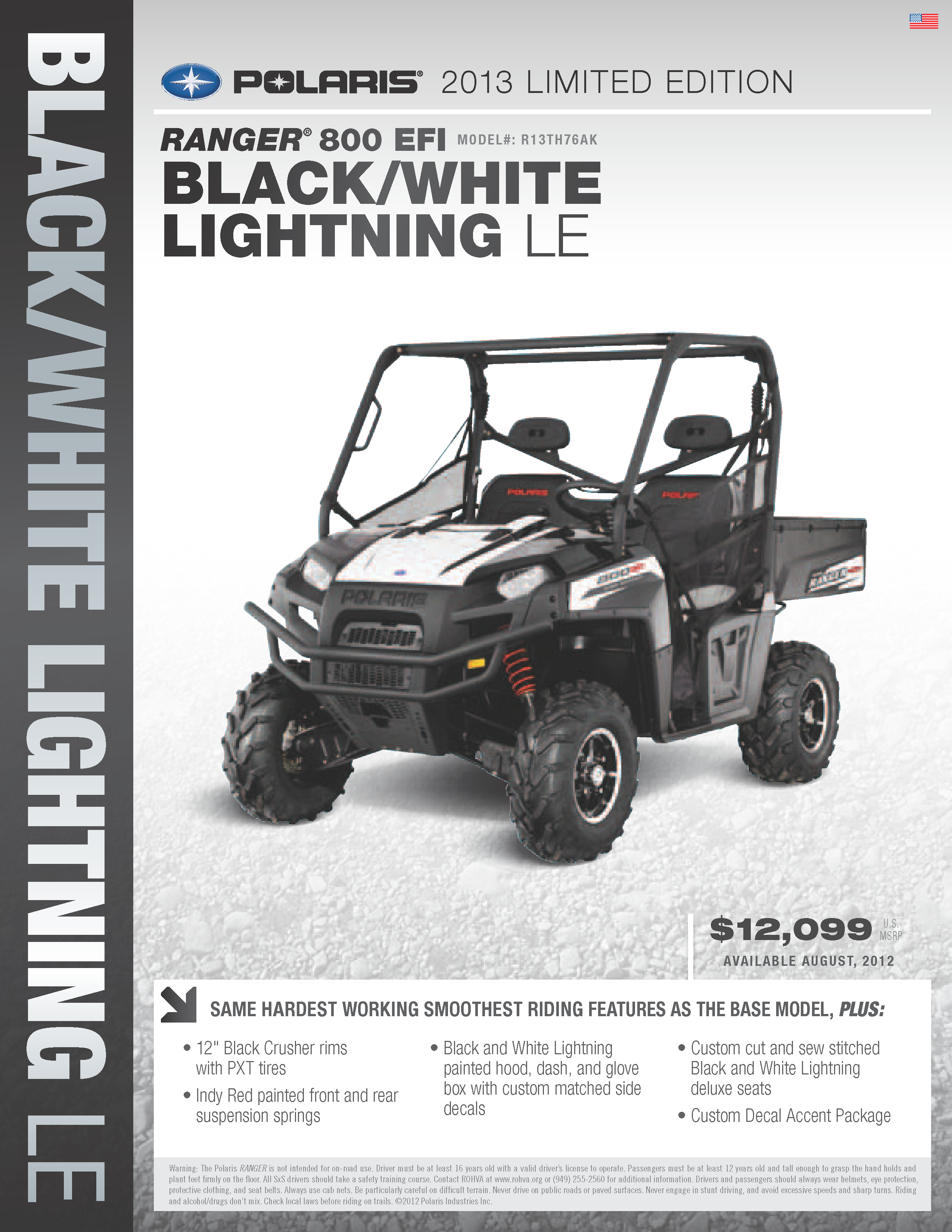 2013 Polaris Ranger XP 800 - black and white lightning