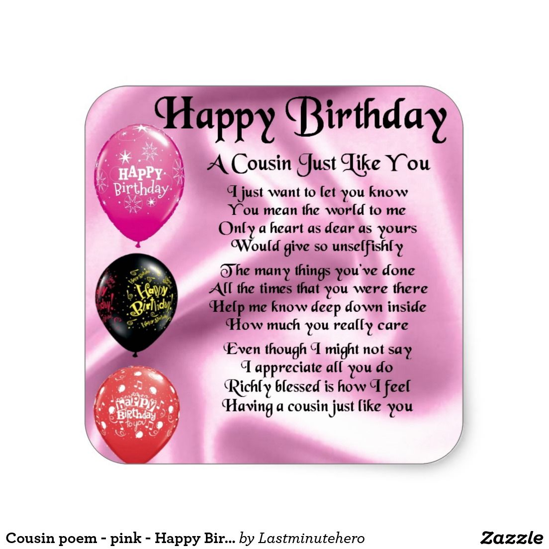 Cousin poem pink happy birthday square sticker poem happy cousin poem pink happy birthday square sticker kristyandbryce Image collections