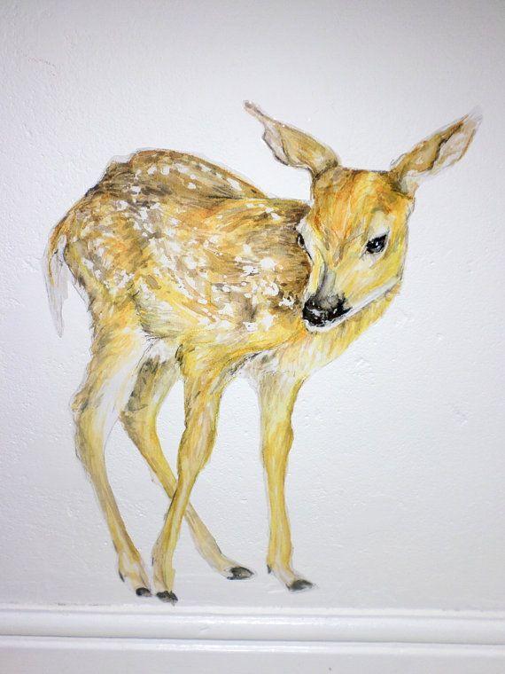 Deer wall decal fawn wall sticker woodland by SmockBallpoint