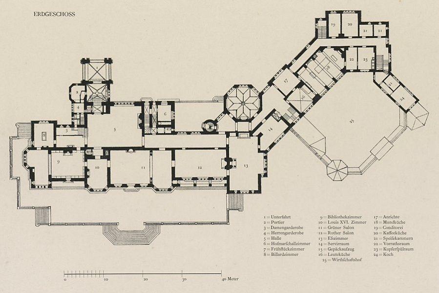 schloss Friedrichshof. ground floor plan. Ground
