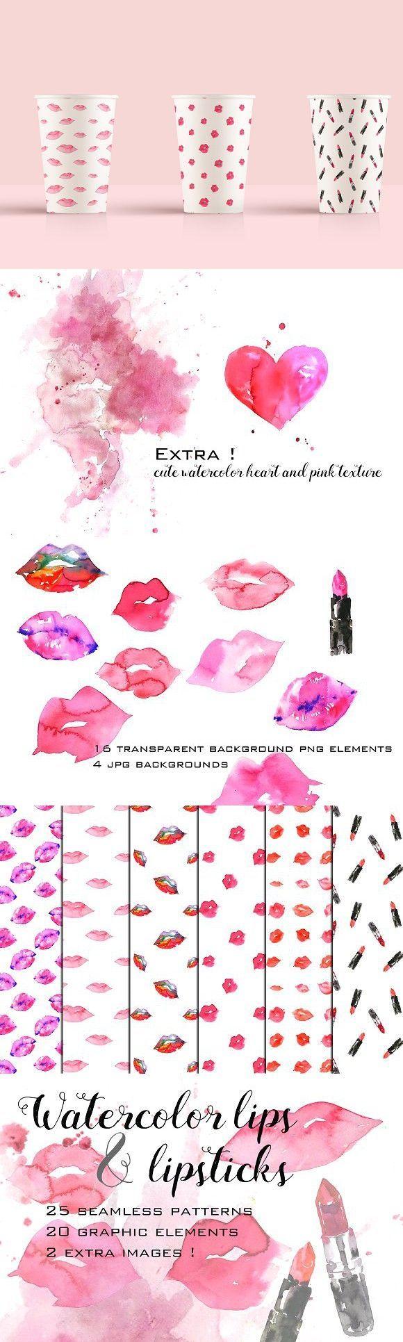 Watercolor lips and lipsticks set  - Branding Tips -