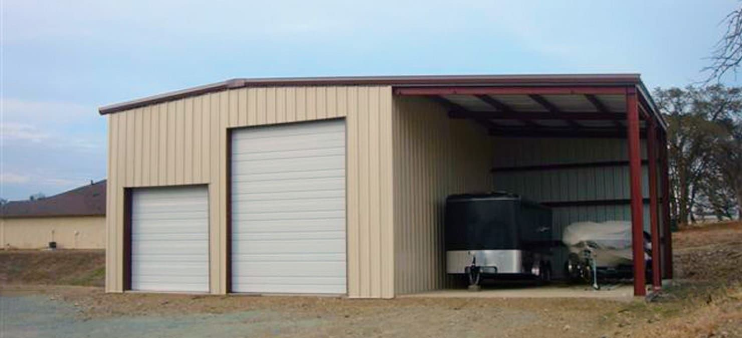 General Steel Garage Building With Leanto Barns