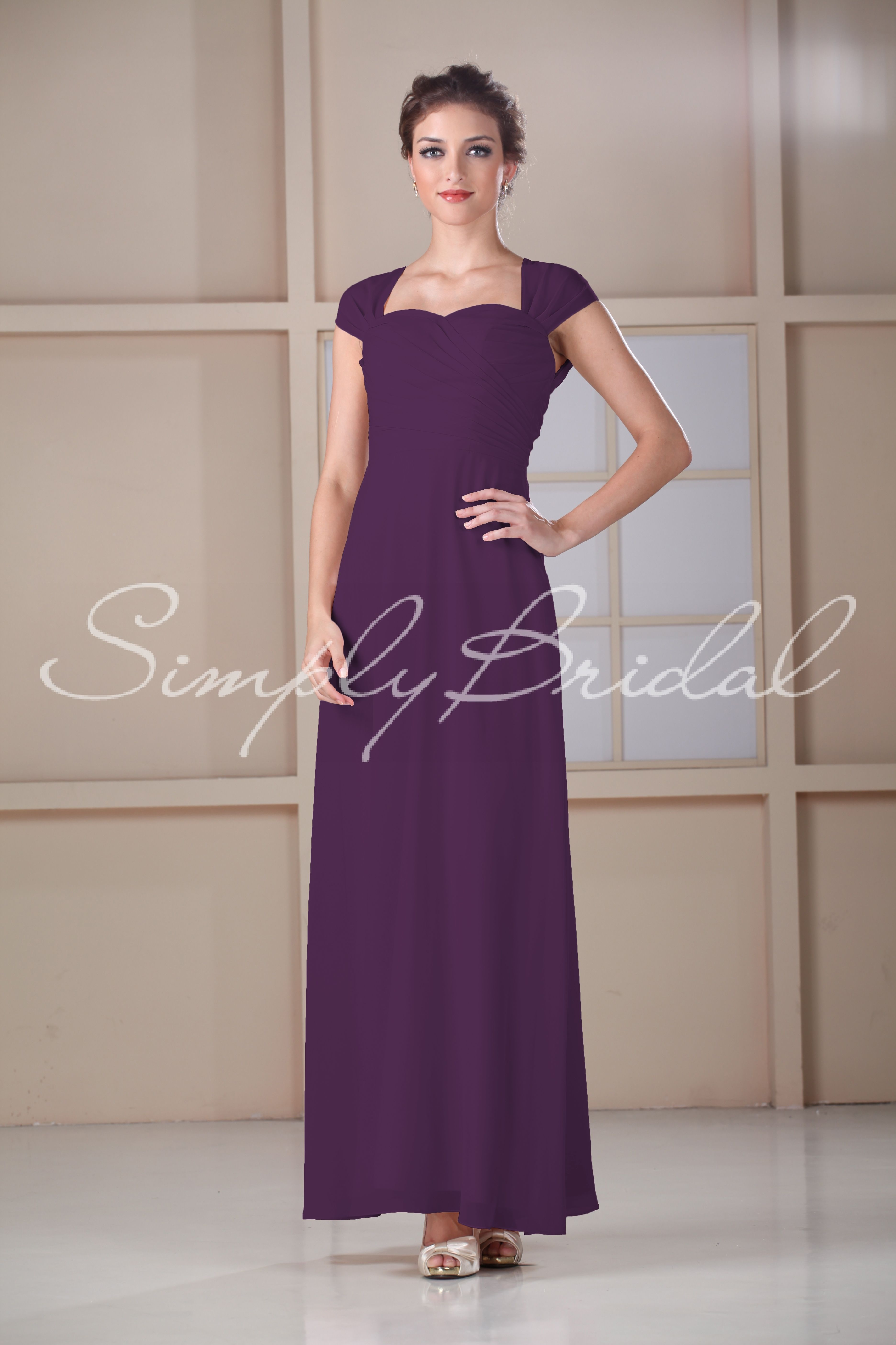 85117 - Sweetheart Floor-length Dress with Capsleeves
