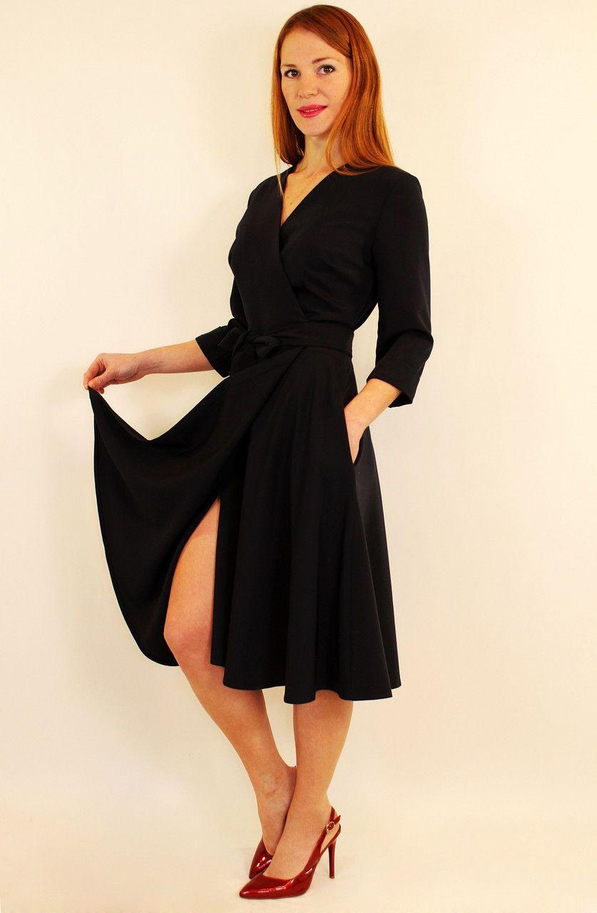 c125c7b5aad Платье-халат с запахом миди с юбкой клеш 44-52 р красный