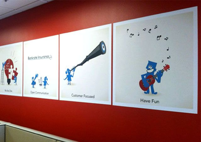 Make your office a little more you, and a little more fun. Custom Wall Graphics for Bankrate Insurance