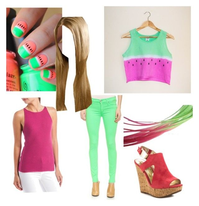 """Summer Watermelon"" by musiclizard ❤ liked on Polyvore featuring INC International Concepts, Givenchy, Hudson and Carlos by Carlos Santana"