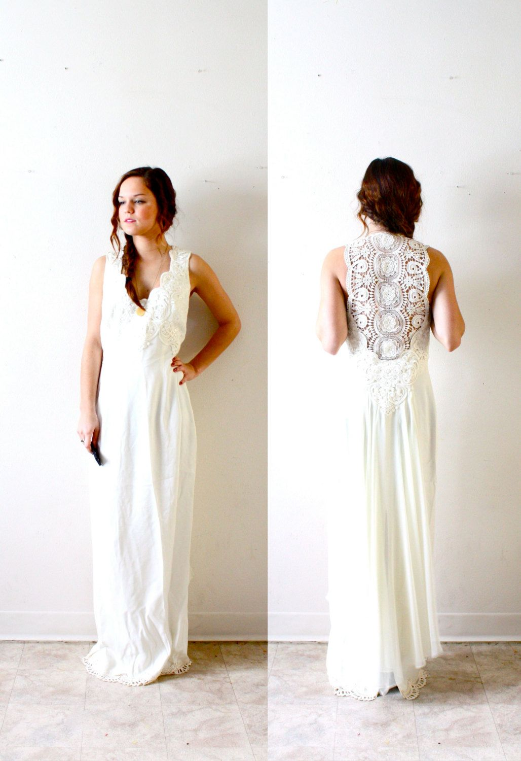 Vintage bohemian hippie all lace back wedding dress