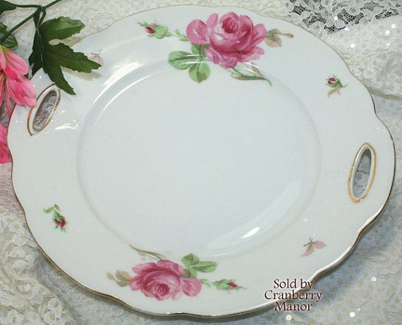 Royal Albert Pink Rose Handled Cake Pastry Plate Pretty in Pink