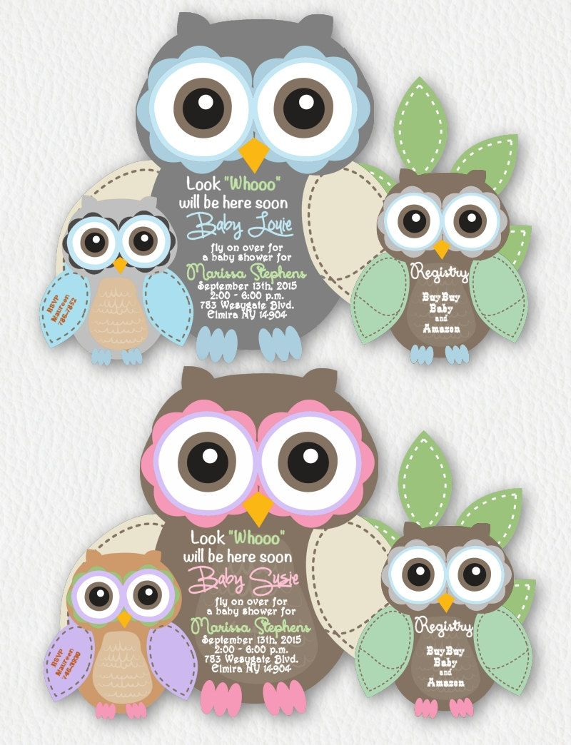 Fall Owl Baby Shower Invitations, Owls Baby Shower Invitations, Girl ...