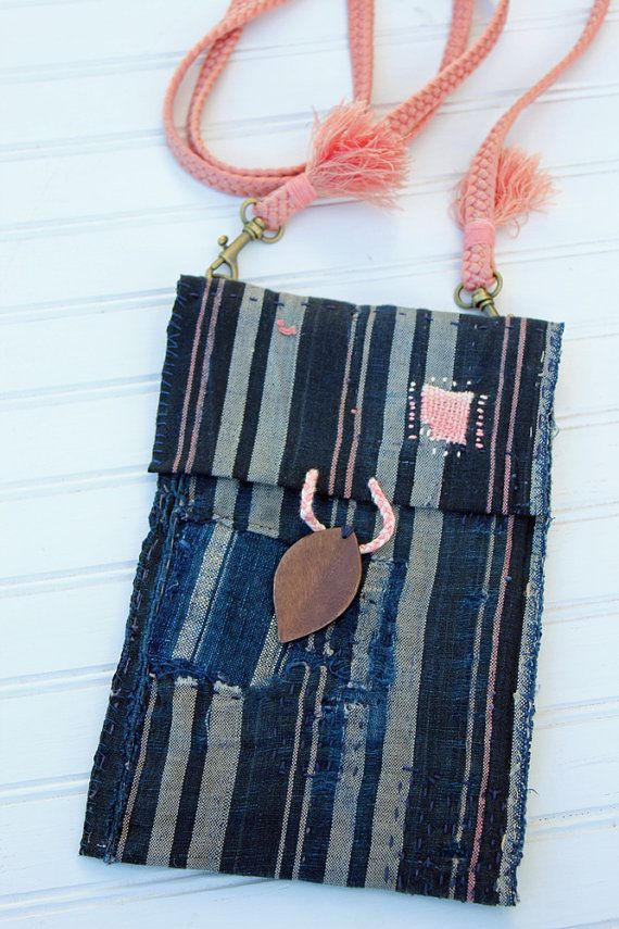 Photo of Medium OOAK indigo boro cross-body bag with sashiko stitching and silk obi-jime strap – perfect for iPhone 6 plus