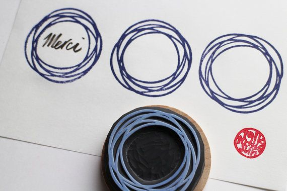 Photo of Spiral circle stamp  frame rubber stamp  wreath stamp  hand | Etsy