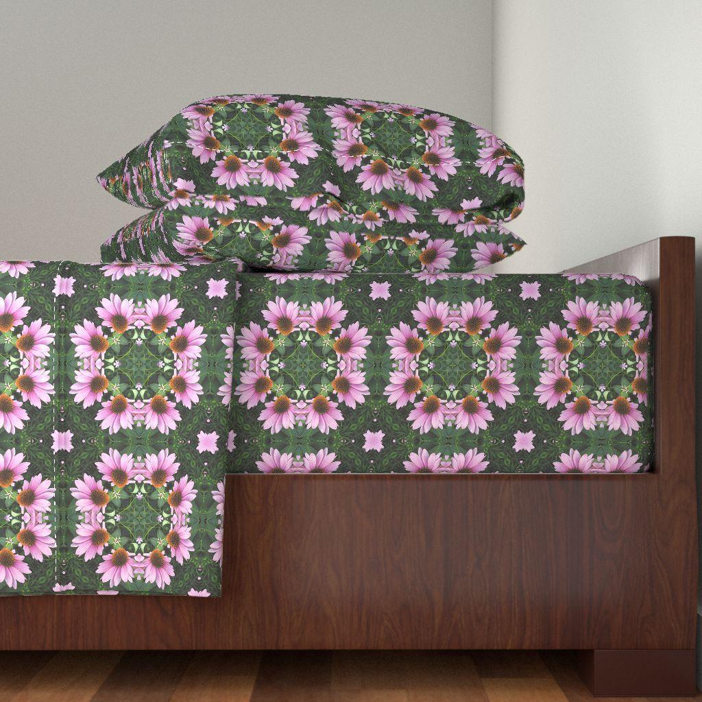 Langshan Sheet Set featuring Coneflower Mandala by linda_baysinger_peck | Roostery Home Decor