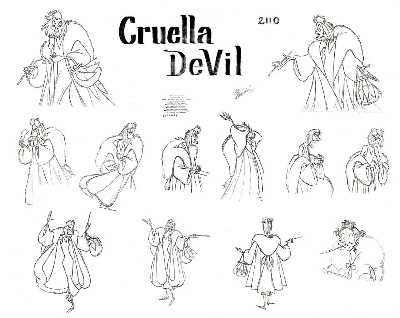 Cruella De Vil Character Model Sheet 101 Dalmations 1961