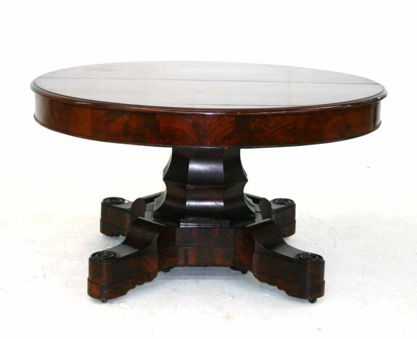 Exceptional J JW Meeks American Empire Mahogany Dining Table Unusual Shaped Base With Original