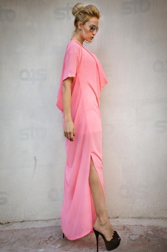 the best attitude f0389 4d715 NEUE Korallen Maxi Kleid drapieren / Plus Size Kleid / Plus ...