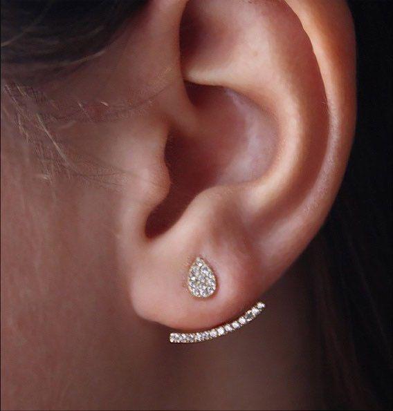 5027dbf93 Ear jacket gold ear jacket front back earring ear by LuvMinimal ...