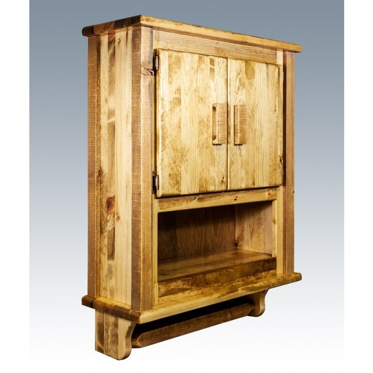Find This Pin And More On Rustic Bathroom Ideas But No Toilet Paper Made Out Of Bark By Logfurnitureplc Homestead Barnwood Wall Cabinet