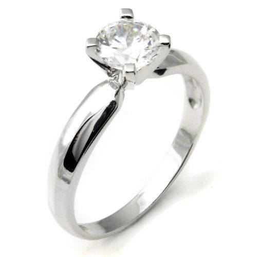Sterling Silver Cubic Zirconia Solitaire 1.25 Carat tw Round Cut 4-Prong Set CZ Engagement Ring, Nickel Free Sz 7   Xeyns.com