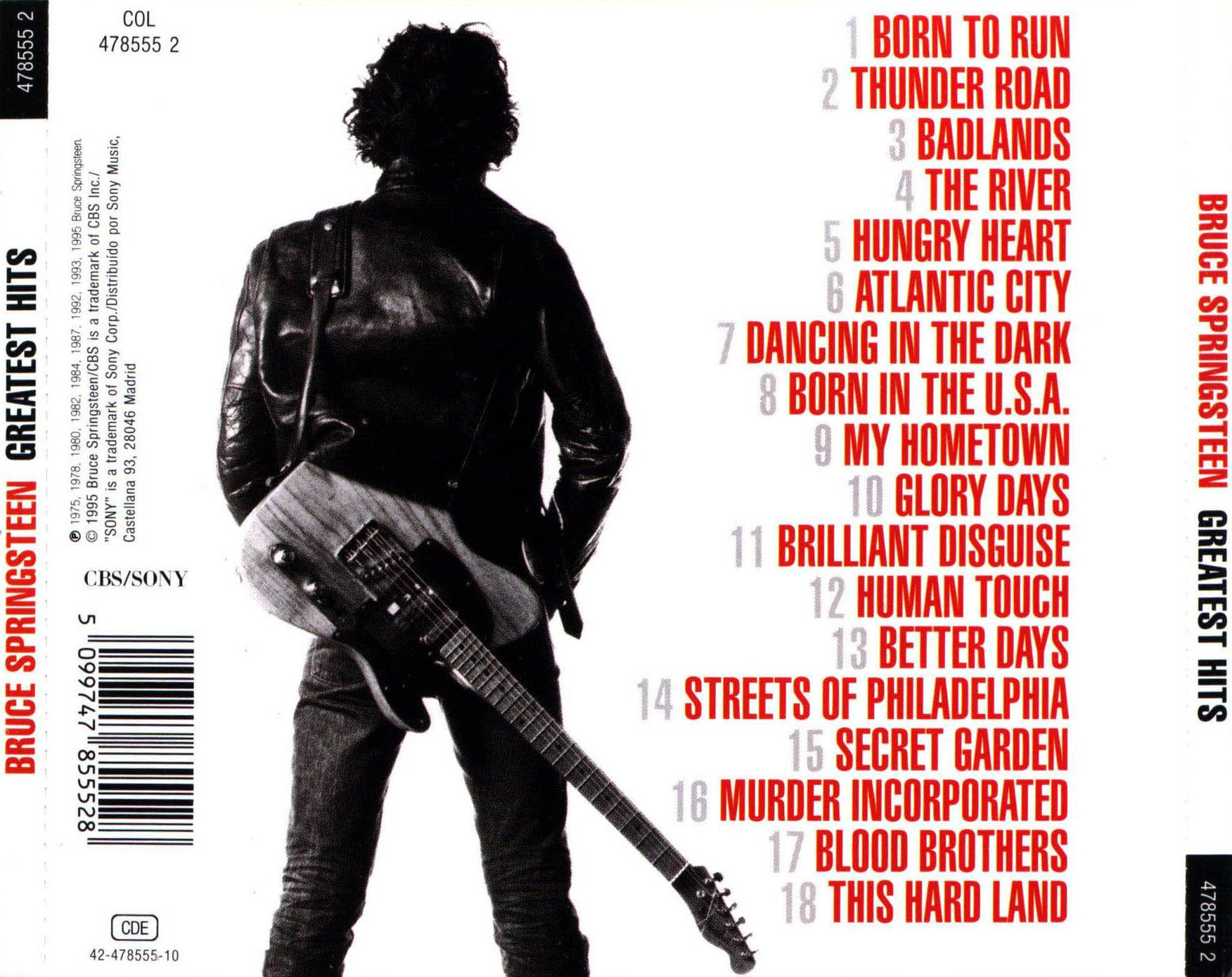 Caratula Trasera De Bruce Springsteen Greatest Hits Bruce Springsteen Cover