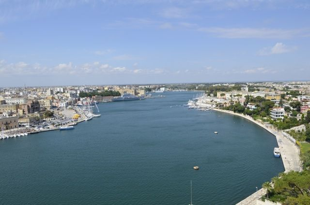 An aerial view of the city of Brindisi Italy from the sailors