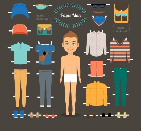 Paper doll man template by Microvector on Creative Market - sample paper doll