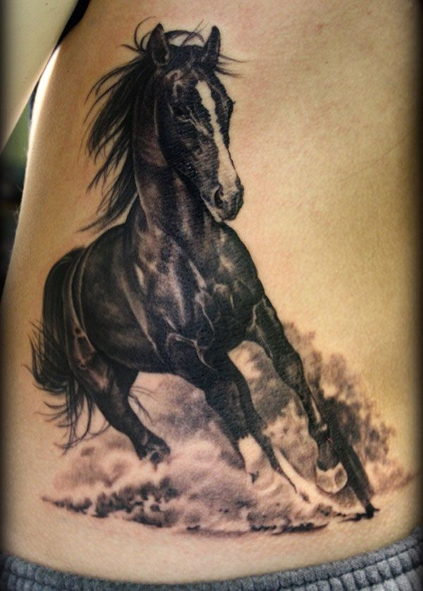 b1990249a Eric Marcinizyn black horse tattoo. Getting this much detail in a nearly  all black subject is amazing!