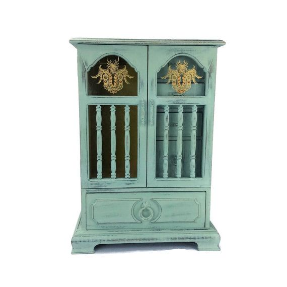VINTAGE JEWELRY ARMOIRE Large Jewelry Box Tall Jewelry Holder