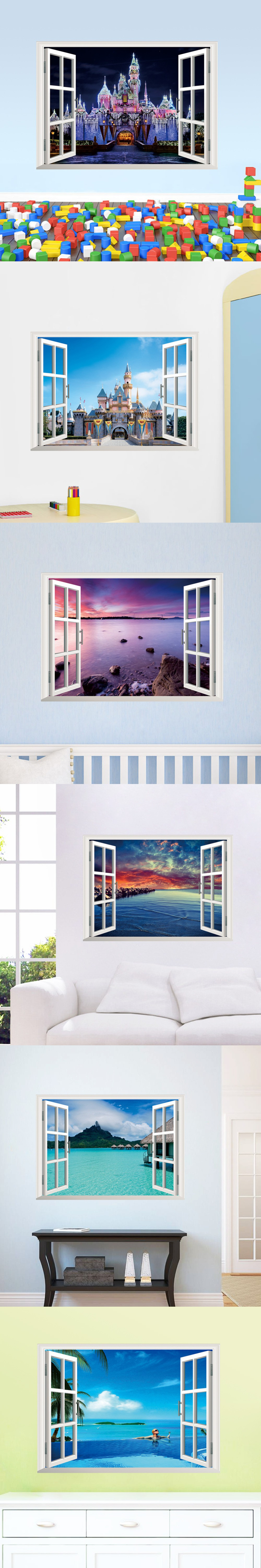 Window decor stickers  exotic beach view d window decal castle wall sticker home decor art