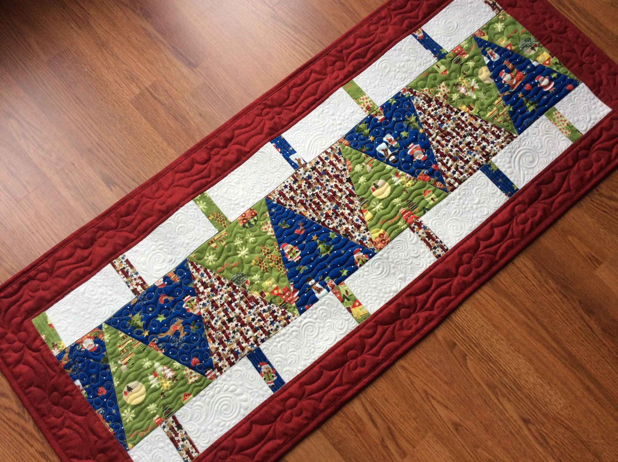 Christmas Tree Table Runner, Quilted Table Topper In Red Green Blue, Modern  Xmas Bed